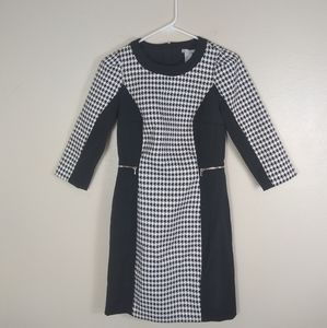 H&M Houndstooth Mini Dress Zippers Black White 6